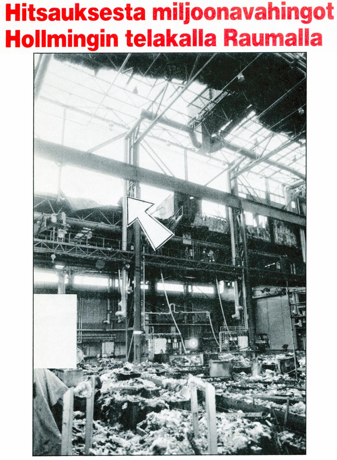 Yleiskuva tuhoutuneesta hallin osasta. Syttymiskohta merkitty nuoleIla. Vaikealla läiskällä vasemmalla on peitetty valmisteilla oleva sota-alus.