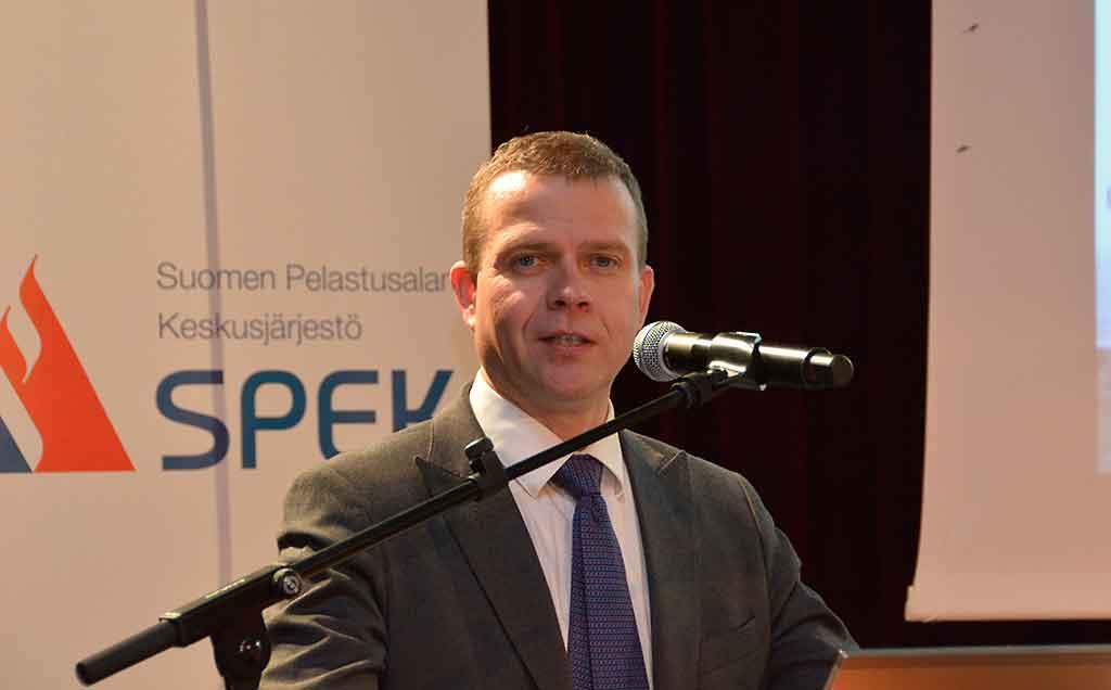 Sisäministeri Petteri Orpo (kok.) avasi keskiviikkona SPEKin yhteistyökumppaneidensa kanssa järjestämät Pelastusalan neuvottelupäivät.