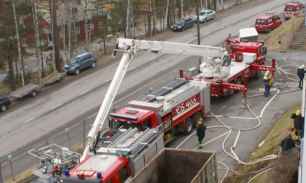 Harjoitus käynnissä Savonlinnassa Etelä-Savon pelastuslaitoksella.