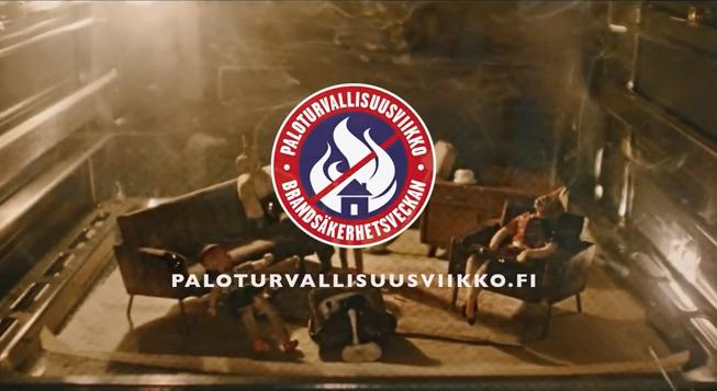 Paloturvallisuusviikon mainos muistuttaa paloturvallisuudesta. (Kuva: Youtube)