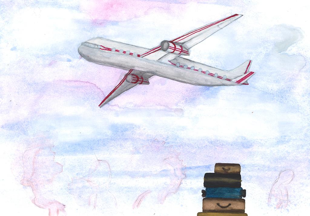 Kun kone lähti lentoon, Jare tarttui herrasmiehenä Mirjaa kädestä. (Kuvitus: Veera Moilanen)