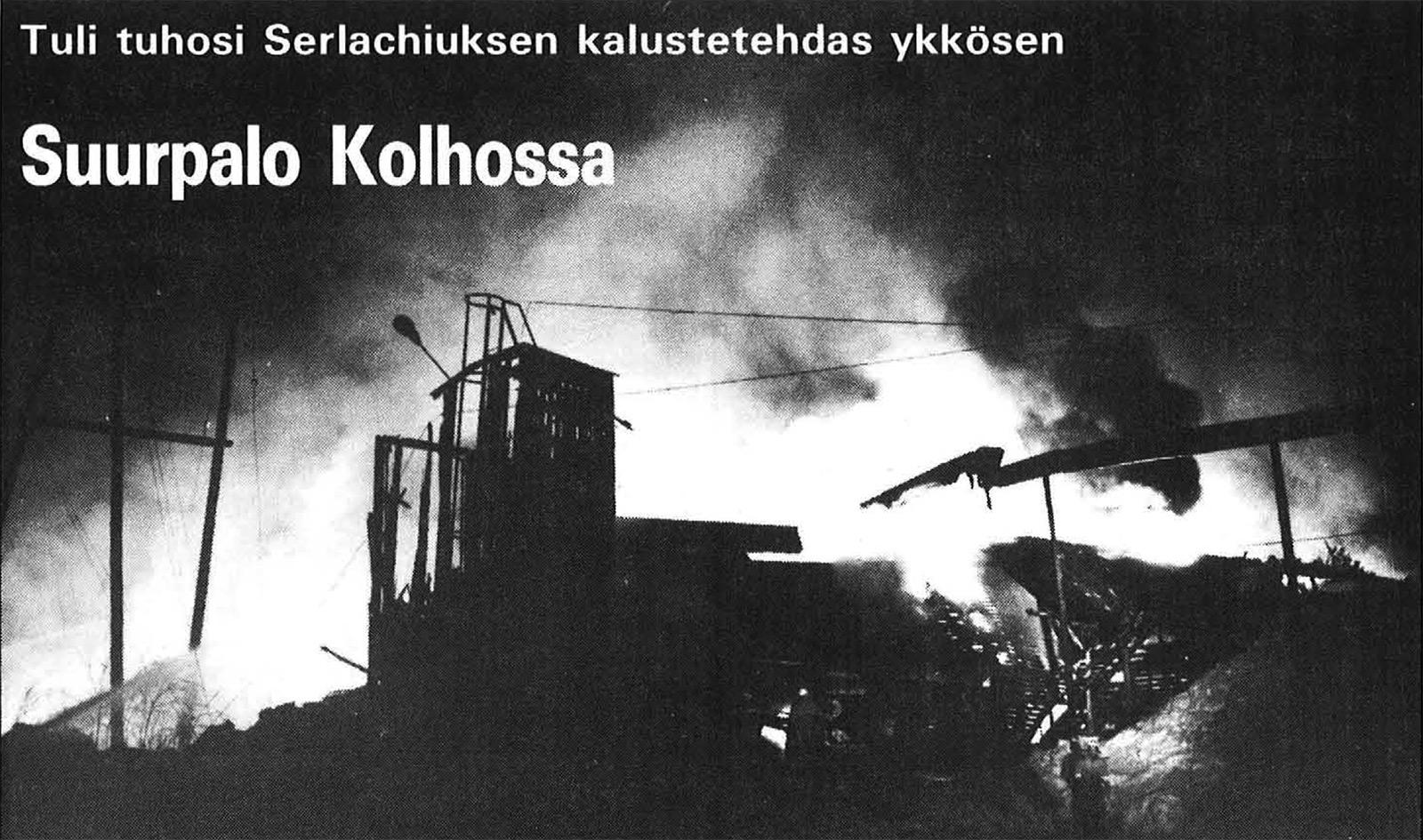 Suurpalo aiheutti noin 33 miljoonan markan vahingot. Tehtaassa valmistettiin muun muassa keittiö- ja kylpyhuonekalusteita.