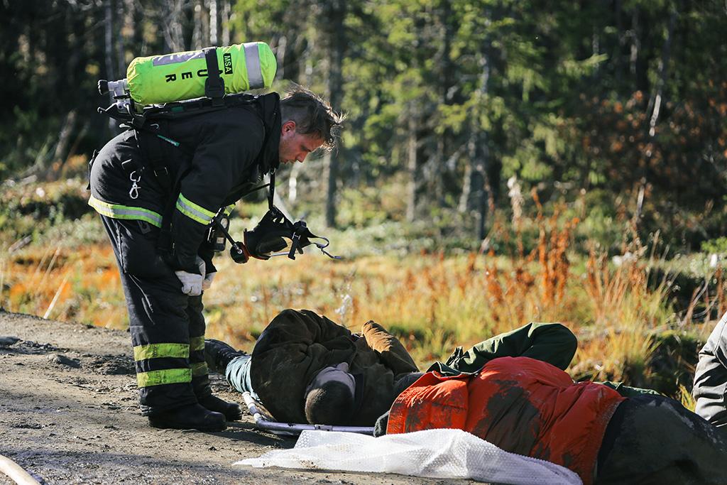 Barents Rescue -harjoituksessa Barentsin alueen maat järjestävät yhteistyössä suuronnettomuusharjoituksen. Kuva Leviltä vuodelta 2015. (Ibrahim Malla / Suomen Punainen Risti)