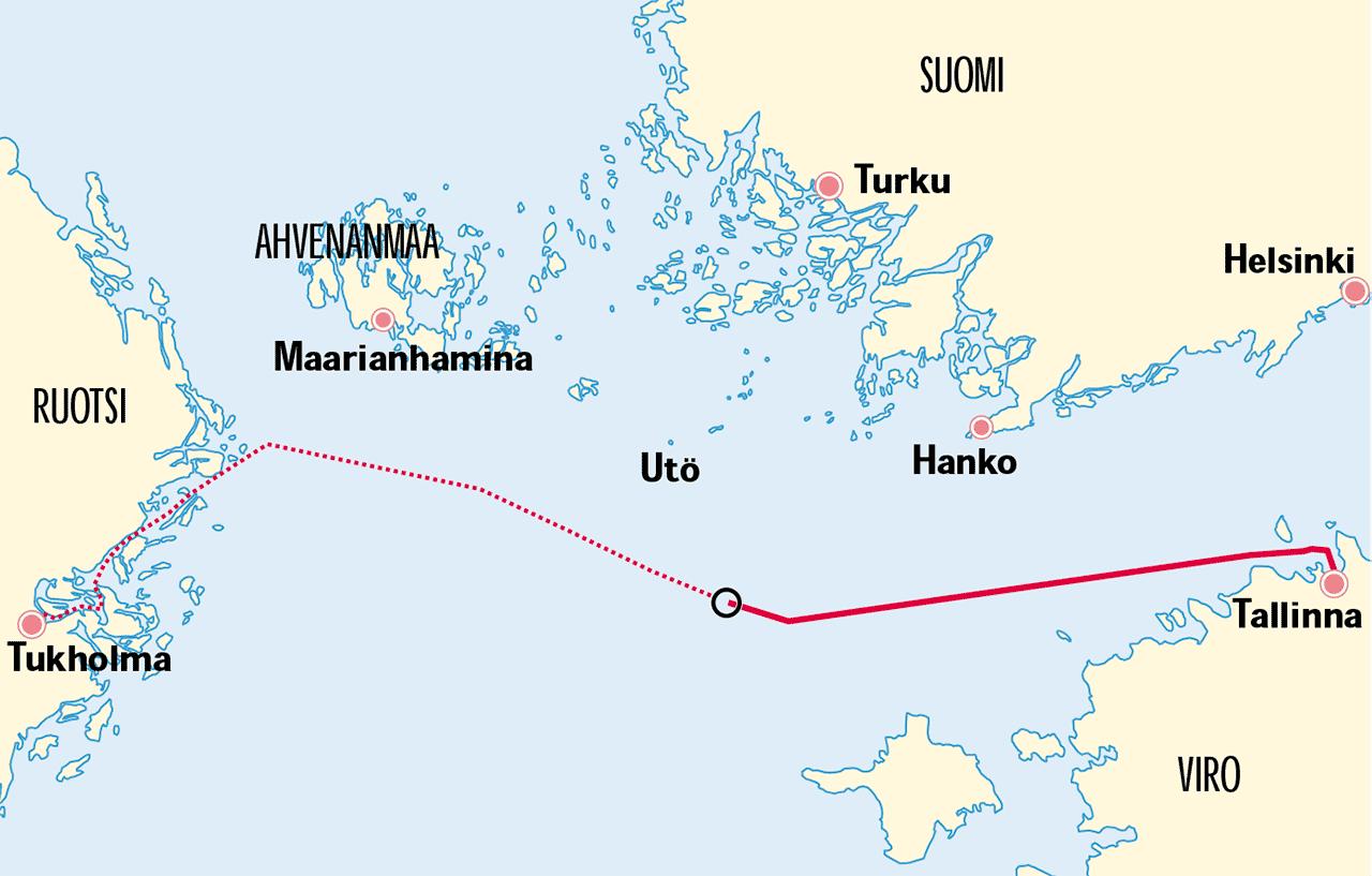 Kuvakaappaus tutkintakomission loppuraportista. Kartassa on Estonian reitti ja onnettomuuspaikka.