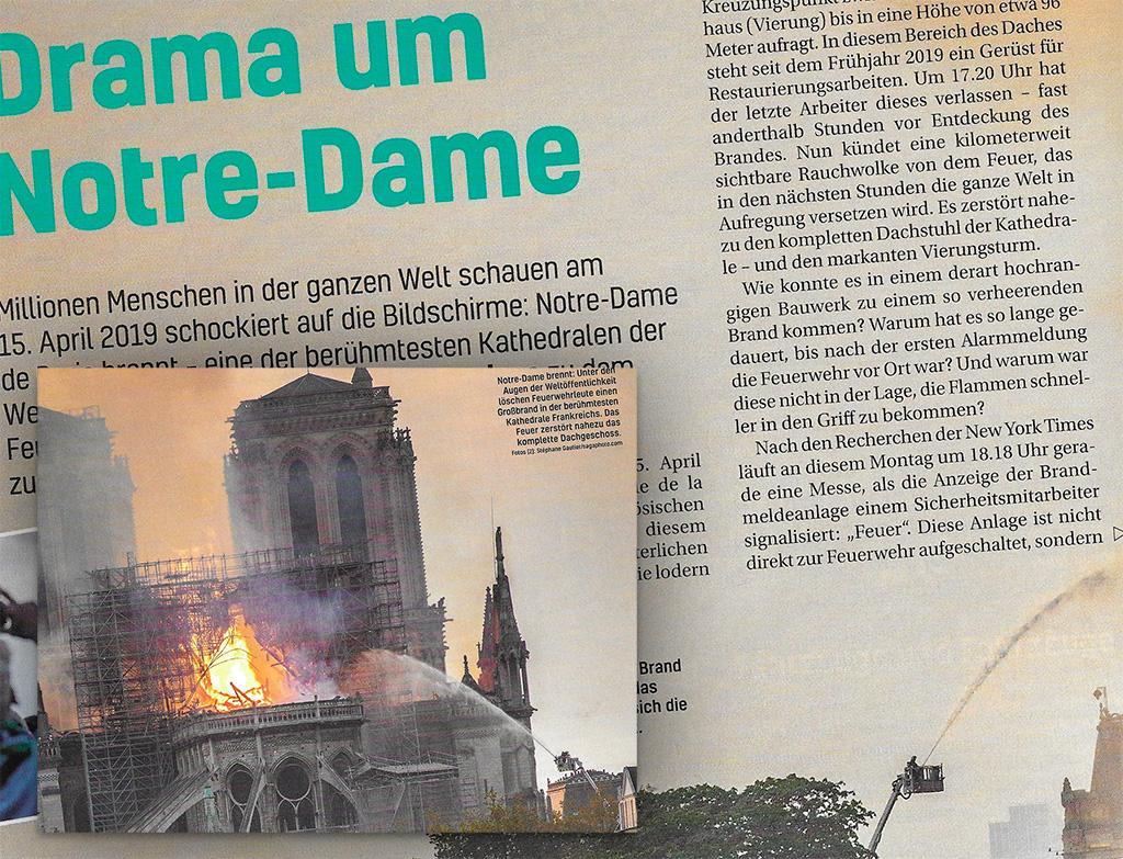 Saksalainen Feuerwehr-Magazin kertoi laajasti Notre Damen tulipalosta numerossaan 11/2019.