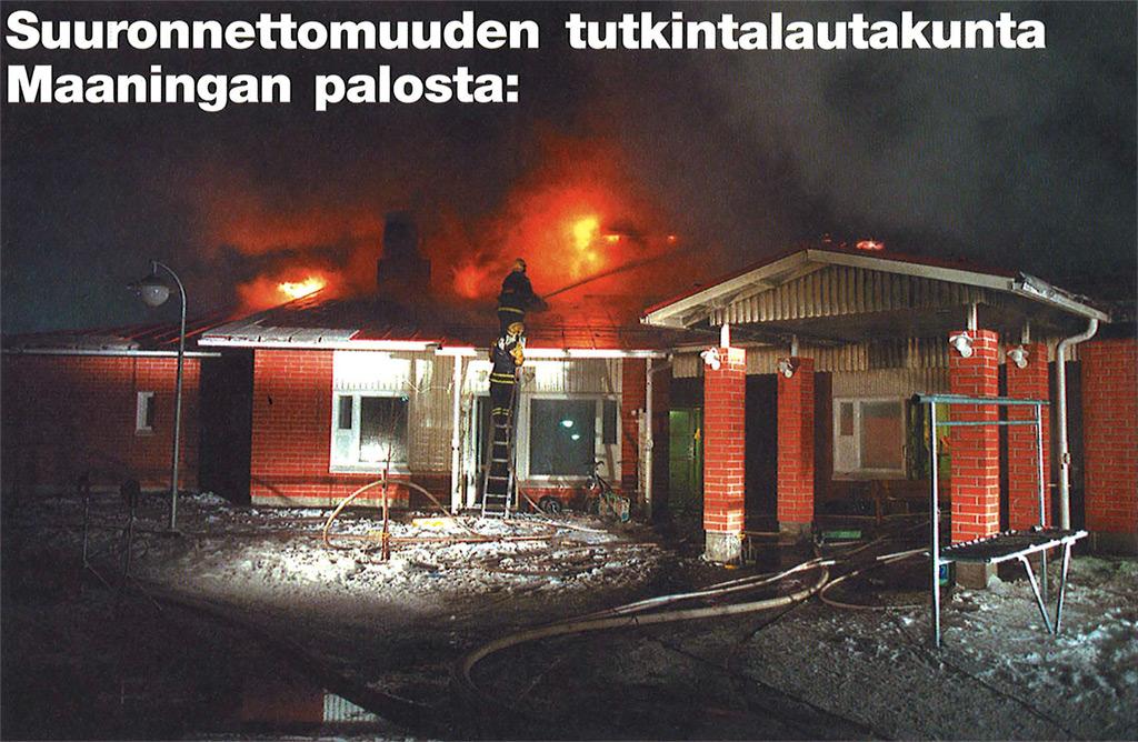 Kuvakaappaus Pelastustieto 1/2000:n artikkelista, jossa tutkintalautakunta pohtii palon syttymissyytä.