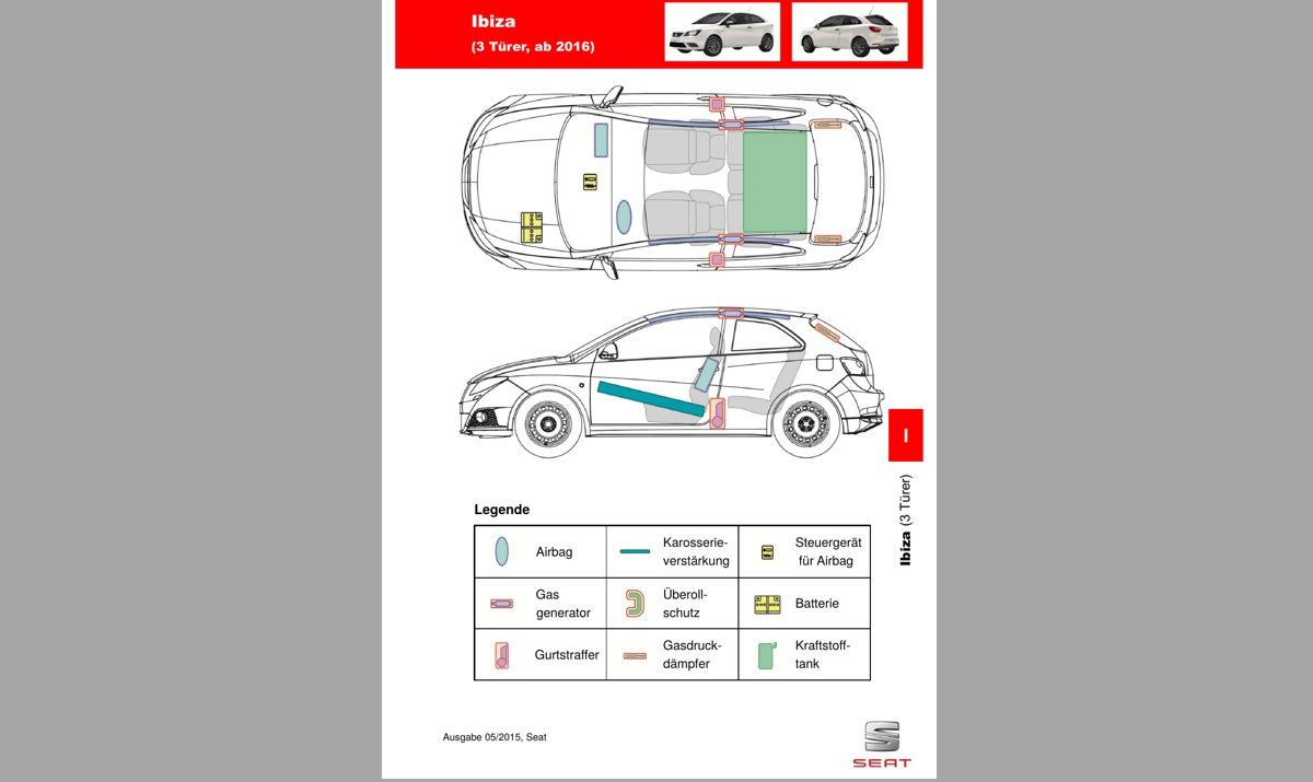 SEAT Ibiza -auton pelastuskortti. Kuva: SEAT