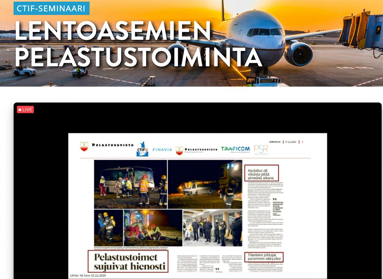 Yliopettaja Matti Honkanen Pelastusopistosta kertoi havaintoja ja valotti yhteistoimintaharjoitusten tulevaisuusnäkymiä. Kuvakaappaus seminaariesityksestä.