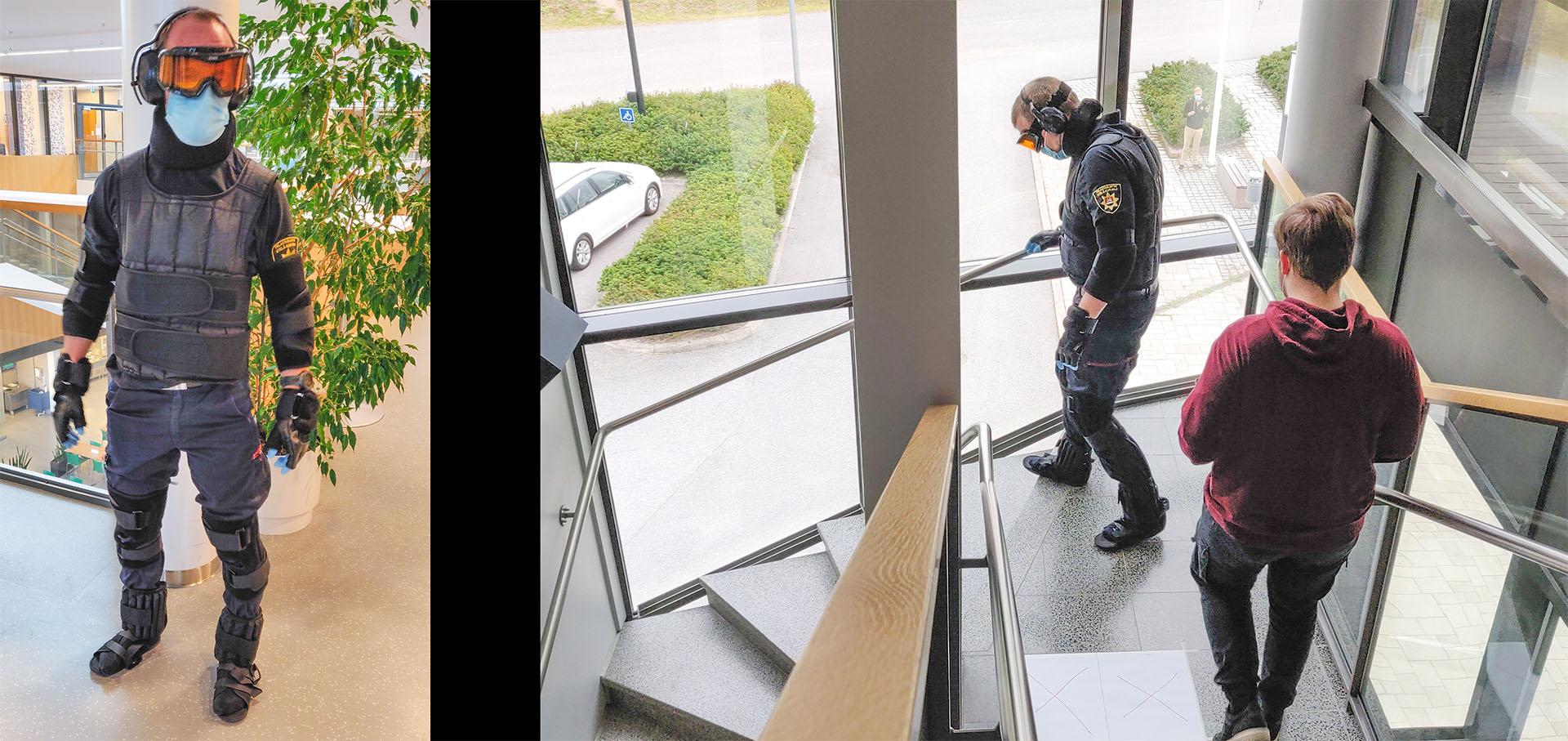 GERT-ikäpuku käytössä LAB-ammattikorkeakoulun tiloissa. Ikäpuku jäljittelee ikääntyneen ihmisen heikentynyttä näköä, kuuloa ja liikuntakykyä. Kuvat: Heidi Huuskonen/Etelä-Karjalan pelastuslaitos
